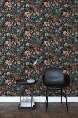 stue tapet blomster smaragdgrønt 139171