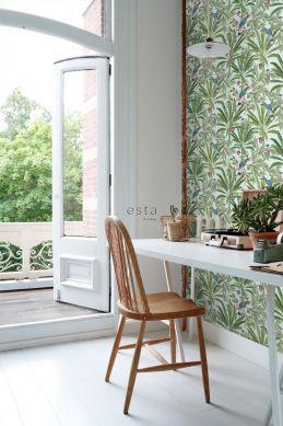 hjemmekontor tapet tropiske jungleblade mintgrønt og unglegrønt 139189
