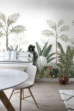 fototapet jungle hvidt og gråligt olivengrønt