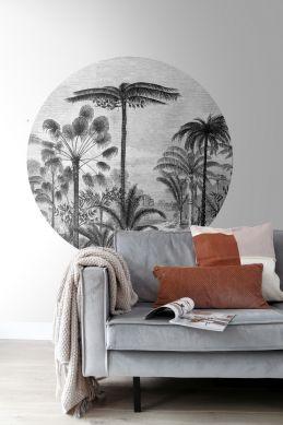 stue selvklæbende fototapet rundt tropisk landskab med palmetræer sort og hvidt 159006