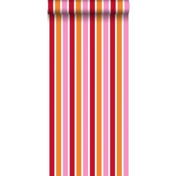 tapet striber lyserødt og orange