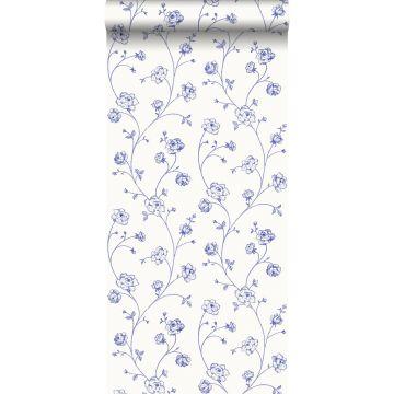 tapet toile de Jouy-roser blåt