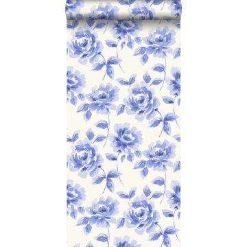 tapet akvarelmalede roser klart blåt