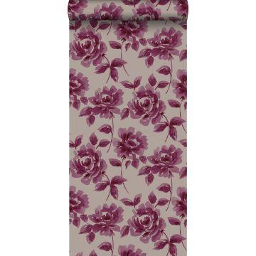 tapet akvarelmalede roser aubergine lilla og mulvarpegråt
