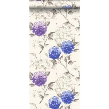 tapet hortensiaer dybblåt og lilla