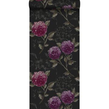 tapet hortensiaer sort og aubergine lilla