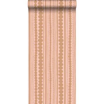 tapet perler ferskenfarvet og skinnende kobberbrunt