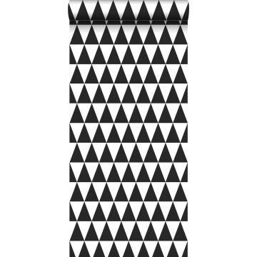 tapet grafiske trekanter sort og mathvidt