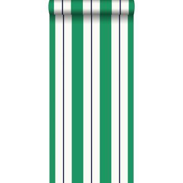 tapet striber grønt og marineblåt