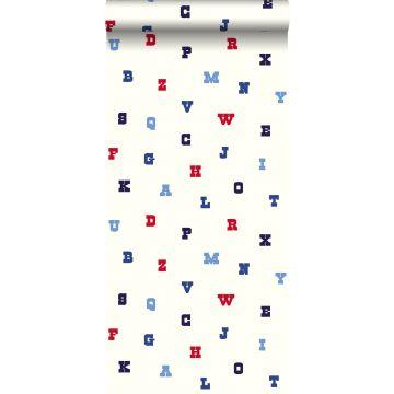 tapet alfabet rødt, hvidt og blåt