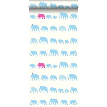 tapet elefanter turkis og lyserødt