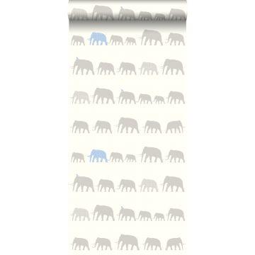 tapet elefanter sølv og lyseblåt