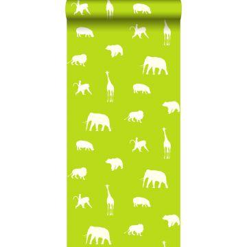 tapet dyr limegrønt