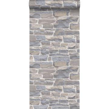 tapet murstenmur lysegråt og beige