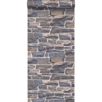 tapet murstenmur blåt og brunt