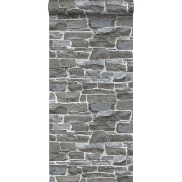 tapet murstenmur mørkegråt