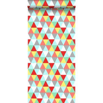 tapet trekanter rødt, gul og blåt