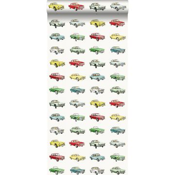 tapet vintage biler rødt, gul og grønt