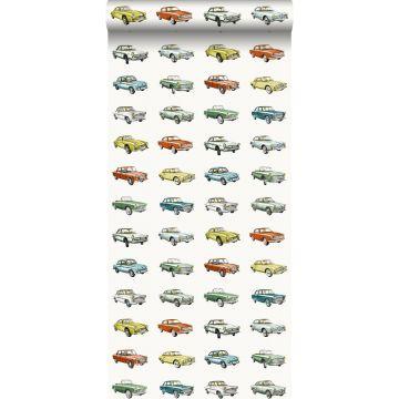 tapet vintage biler orange, okkergult og grønt