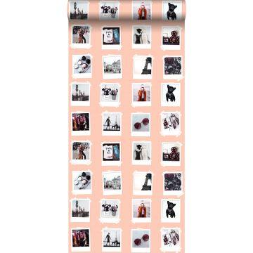tapet polaroidbilleder ferskenfarvet
