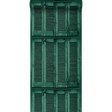 tapet forvitrede franske vintage træskodder smaragdgrønt