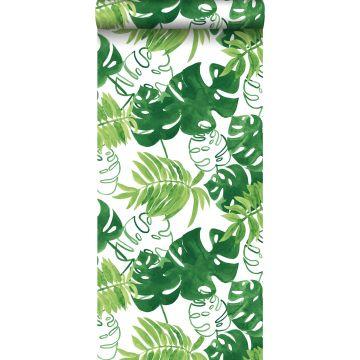 tapet malede tropiske jungleblade tropisk junglegrønt