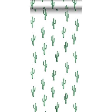 tapet lille ørkenkaktus smaragdgrønt