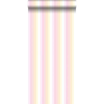 tapet regnbuestriber lyserosa og beige