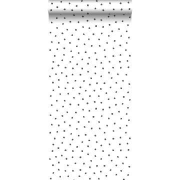 tapet uregelmæssige snefnug polka prikker sort og hvidt