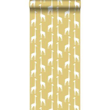 tapet giraffer okkergult