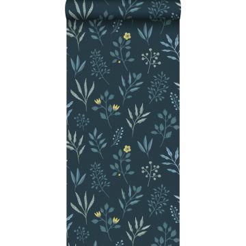 tapet blomstermønster i skandinavisk stil mørkeblåt og okkergult