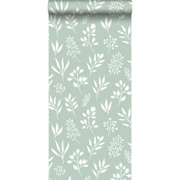 tapet blomstermønster i skandinavisk stil mintgrønt og hvidt