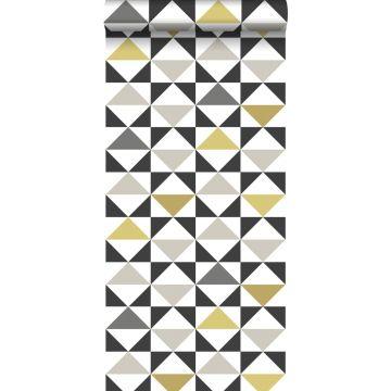 tapet grafiske trekanter hvidt, sort, gråt og okkergult