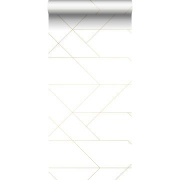 tapet grafiske linjer hvidt og guld