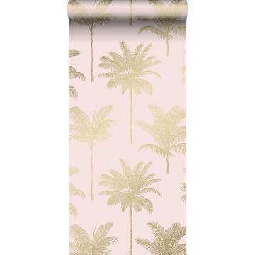 tapet palmetræer skinnende lyserødt og guld