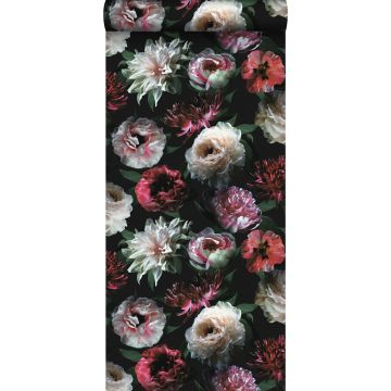tapet blomster lyserødt, sort og mørkegrønt