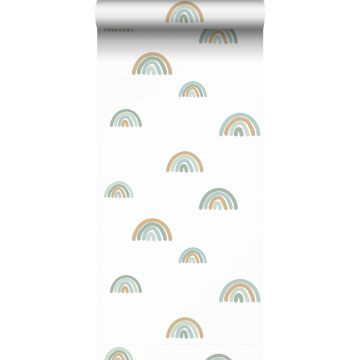 tapet regnbuer gråblåt, lyseblåt og beige