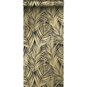 tapet palmeblade sort og guld