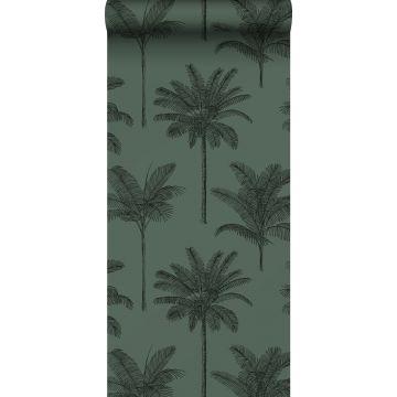 tapet palmetræer mørkegrønt