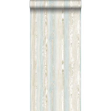 tapet træeffekt lyseblåt og beige