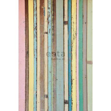 fototapet malet træ lyserosa, gul, blåt og grønt