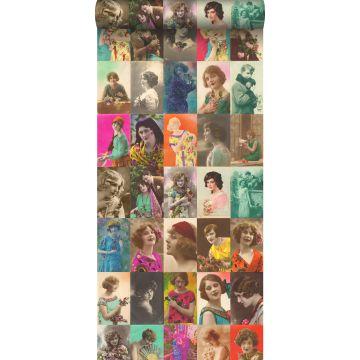 tapet XXL vintage-postkort kvindeansigter flerfarvet