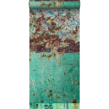 tapet XXL patchwork rustne metalplader havgrønt og brunt