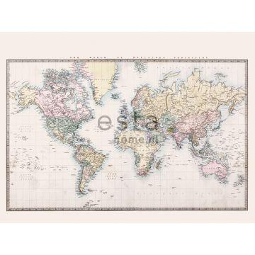 fototapet vintage verdenskort beige, pastelgult, pudderrosa og grønt
