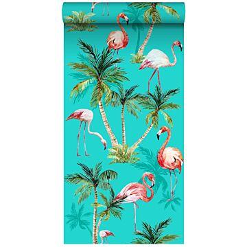 tapet XXL flamingoer turkis, grønt og lyserødt
