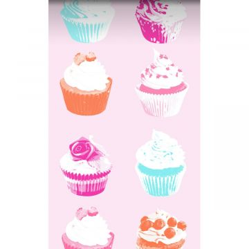 tapet XXL cupcakes lyserødt, blåt, hvidt og orange