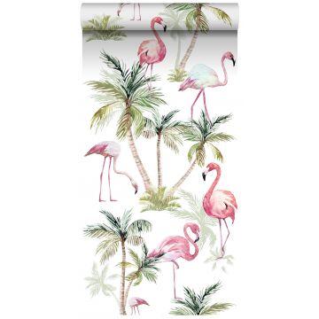 tapet XXL flamingoer lyserødt