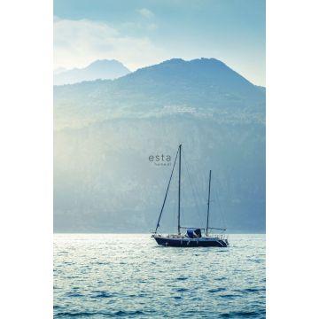 fototapet sejlbåd blåt