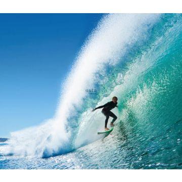 fototapet surfer blåt og havgrønt