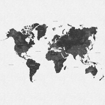 fototapet vintage verdenskort gråagtig sort